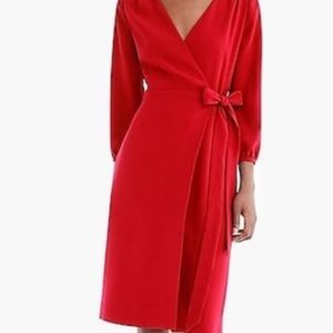 Jcrew red wrap dress